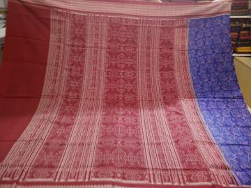 Blue Maroon All over ikat cotton Saree with Blouse Piece