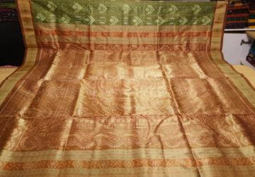 Tribal work in Ikat Traditional Tissue Silk Saree with Blouse Piece