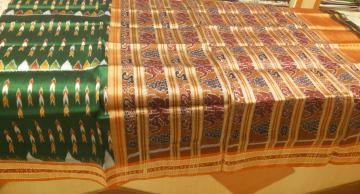 Elephant Motifs Khandua Silk Saree without Blouse Piece