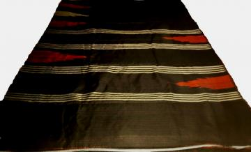 Traditional Elegant Black-Red - Golden Erie Silk Saree with Blouse Piece