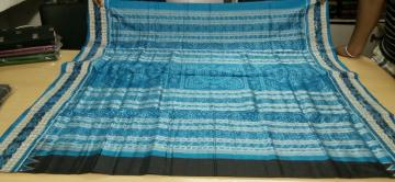 Black and Blue Beautiful Traditional Ikat Silk Saree with Blouse Piece