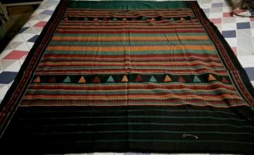 Green and Black Fine Cotton Tribal Dongria Saree with Blouse Piece