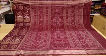 Traditional Boat Motifs Ikat Saree in Cotton Without Blouse Piece