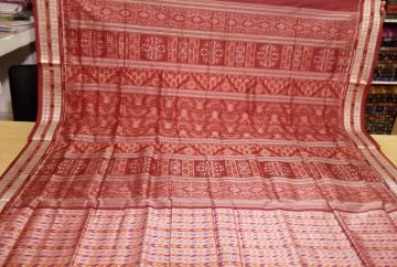 Traditional motifs all over ikat work Silk Saree with Blouse Piece