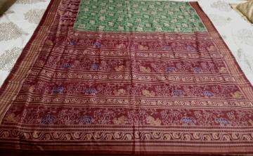 Master weaver s hand woven Lion And Elephant Motifs All over Ikat Cotton Saree with Blouse Piece