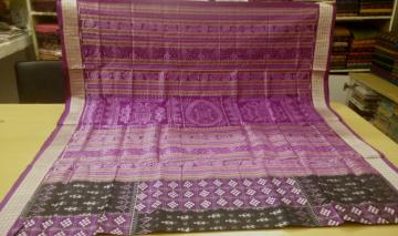 Beautiful Pasapalli and Tribal work All over Ikat Silk Saree with Blouse Piece