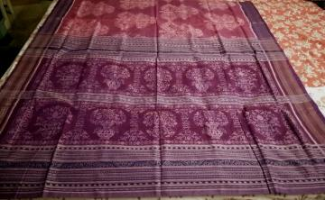 Master Weavers creation Tree motifs fine cotton Ikat Saree with Blouse Piece