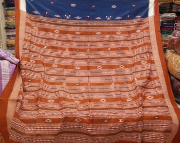 Tribal Bomkai Exclusive Blue Rust Cotton Saree with Blouse pIece