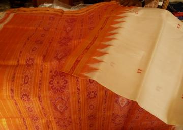Off White Orange Khandua Silk Saree