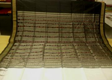 Tissue Border and Aanchal Traditional Ikat work White Black Silk Saree with Blouse Piece