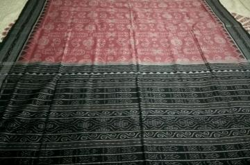 Laxmi Pooja Theme with traditional Motifs Cotton Ikat Saree with Blouse Piece