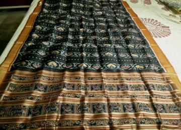 Elephant and flower motifs all over Ikat work Khandua Silk Saree with Blouse Piece