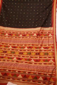 Dongria Pattern Inspired Master Weaver s exclusive Black and Red Silk Saree