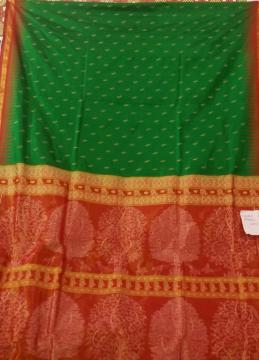 Exclusively Woven Tissue Aanchal Border and Butis Silk Saree with Blouse Piece