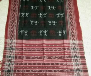 Tribal Motifs Black Maroon Cotton stole