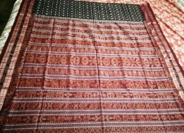Traditional Border and Aanchal Butadar Ikat Cotton Saree with Blouse Piece