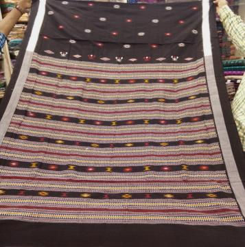 Handwoven Tribal Bomkai Cotton Saree with Blouse Piece