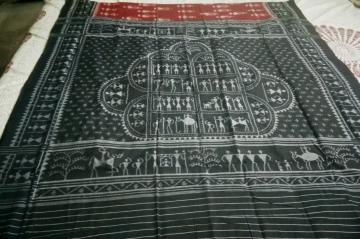 Tribal Motifs Cotton Ikat Saree without Blouse Piece