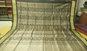 Traditional Grey black Bomkai Silk Saree with Blouse Piece