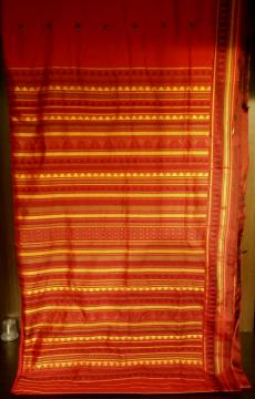 Exclusively Woven Red Silk Dongria Saree with Blouse Piece