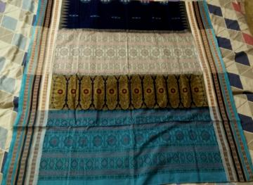 Multicolor Border Beautiful Cotton Bomkai Saree with Blouse Piece