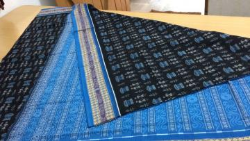 Tribal Motifs Black and Blue Cotton Saree with Blouse Piece