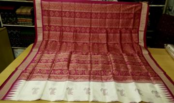 Hand woven Deer and Flower Motifs Bomkai Saree in Silk with Blouse Piece