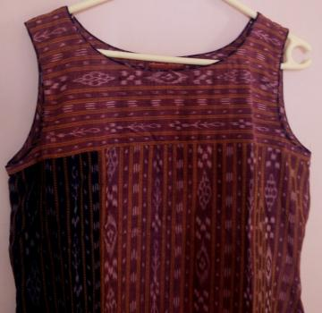 Sleeveless Long Ikat Kurta in Cotton