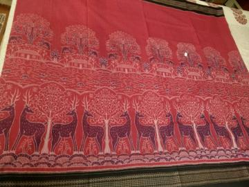 Master Weaver s Creation Animals Jungles Huts theme Ikkat Cotton Saree with Blouse Piece