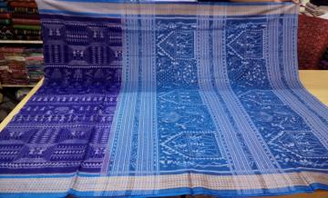 Hand Woven Tribal Motifs Ikat Fine Cotton Saree with Blouse Piece