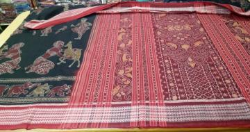 Exclusively Woven Dancers and Animal Motifs Ikat Cotton Saree with Blouse piece