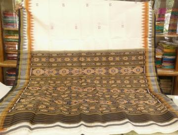 Double Border Traditional Khandua Silk Saree without Blouse Piece