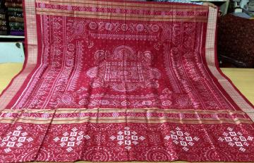 Beautiful Traditional pasapalli n all over ikat Silk saree with blouse piece