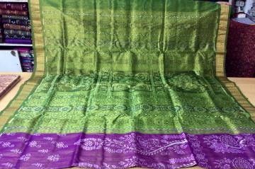 Traditional ikat Tissue Silk Saree with Blouse Piece