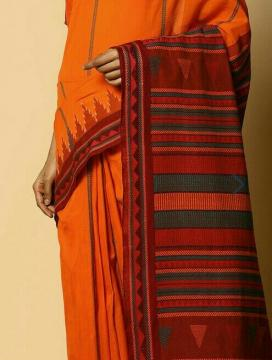 Orange Cotton Dongria Saree without Blouse Piece