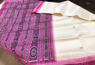 Off white and Pink Traditional Khandua Ikat Silk Saree