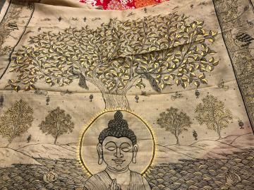 Budha theme black and Golden painting on Tasar Saree with blouse piece