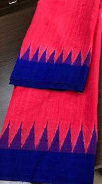 Traditional Aanchal Temple border Red and Blue Tasar Saree with Blouse