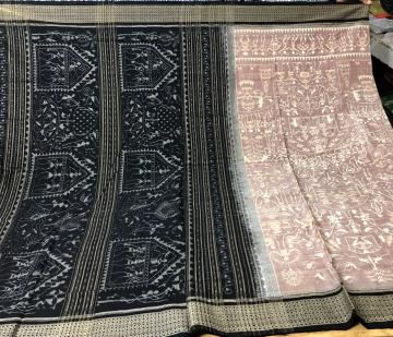 Tribal Life style Exclusively woven Cotton Ikat Saree with Blouse Piece