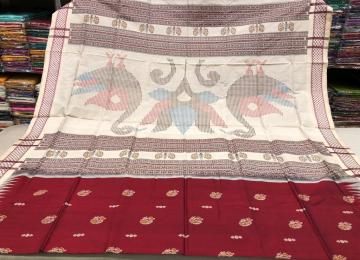 Peacock motifs reddish maroon and off white Bomkai Silk Saree with blouse piece