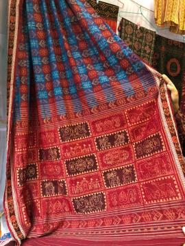 National Award winner weaver S Exclusively woven Cotton Ikat Saree without Blouse Piece
