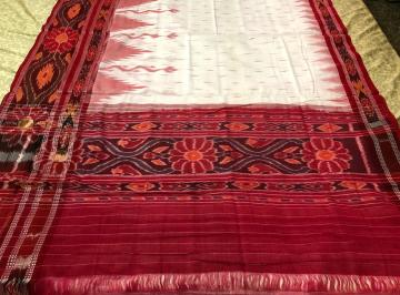 White and Red Cotton Ikat Saree without Blouse piece
