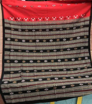 Red and Black Tribal Bomkai Saree in Cotton with Blouse Piece