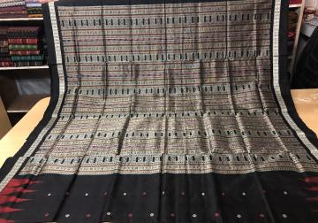 Temple Border Fish Motifs Silk Bomkai Saree with Blouse Piece