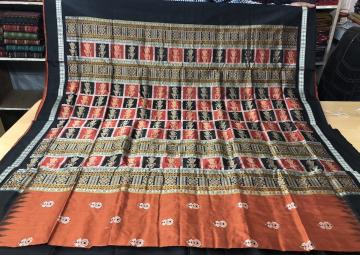 Doll and Flower Motifs Doll Border and Aanchal Silk Bomkai Saree with Blouse Piece