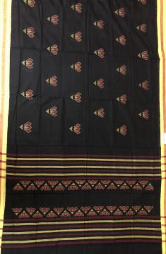 Beautiful Black and Yellow Flowers Skirt Pattern Ikat Cotton Saree without Blouse Piece