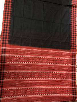 Checks And Temple Border Fish Motifs Aanchal Ikat cotton Saree with Stripe Blouse pIece