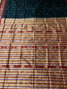 Siminoi Inspired Bomkai Silk Saree with All over Bomkai Work Blouse Piece