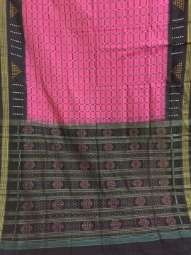 Body checks with Bomkai butis - Rudraksh n buti borders with Ikat Aanchal Cotton Saree without blous