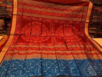 Exquisite Tribal motifs body with Traditional Aanchal Ikat Silk Saree with Blouse Piece